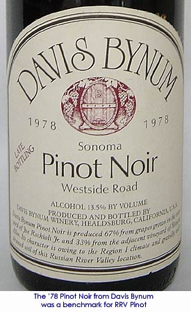 Gary Farrell's breakthrough 1978 Davis Bynum Russian River Pinot Noir