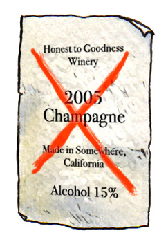misleading wine labels like California Champagne